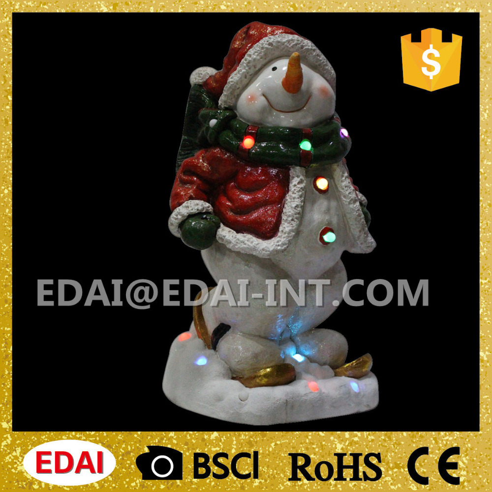 Polyresin lighted christmas standing snowman christmas gift with colorful lights