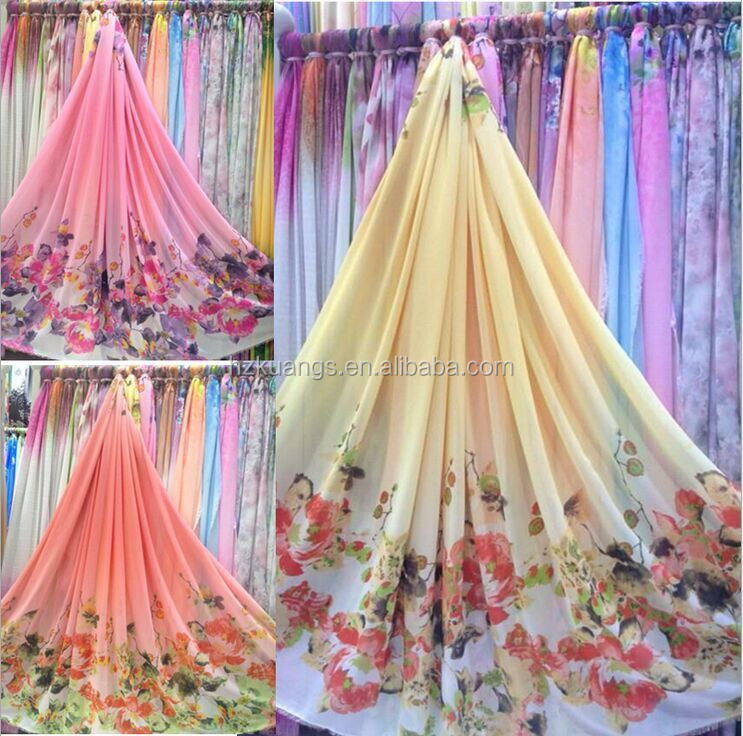 high quality customized digital printing chiffon fabric,100% polyester