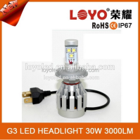 Hottest!!!!High power bright 3000lm h4 h7 h9 h11 led headlight replace halogen bulb
