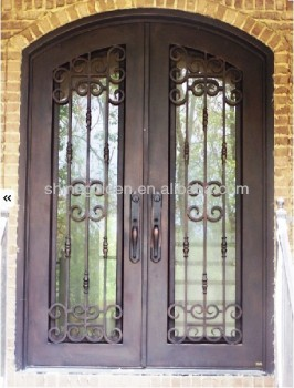 Top-selling wrought iron double entry door SG-14D028