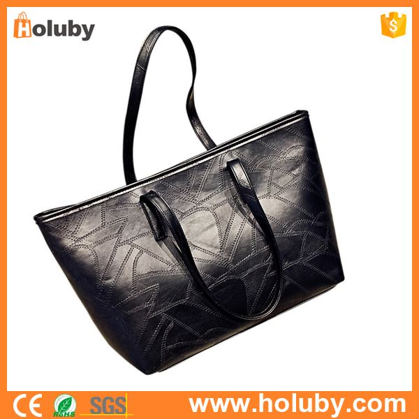 Wholesale Black Large Capacity PU Leather Lady Bags Handbags Shoulder Bags