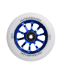 Wholesale price 10 Spoked Blue Aluminum Hub 110mm White PU CNC Scooter Wheel
