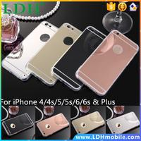 Luxury Mirror Electroplating Soft Clear TPU Case For iphone 6 6S 4.7 inch / 6 6S Plus SE 5 5S 5 4 4S Back Cover Phone Bags Cases