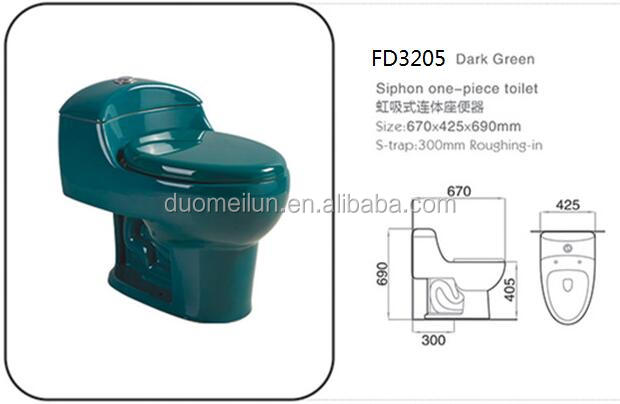Ceramic Pissing dark green color siphon flushing one pcs Toilet