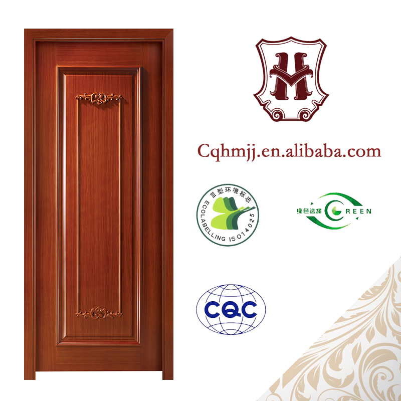MDF fiber double doors main entrance custom with line pressed Tech