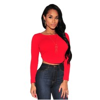 New 2015 Womens Clubwear Tops Fashion Sexy Autumn Style 3 Colors Arched Back Long Sleeves Crop Top LC25696 Camiseta Manga Larga