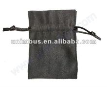 plain black suede jewelry pouch with custom logo printing