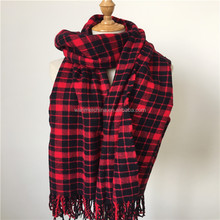 2018 Ladies 100% acrylic tartan plaid scarf