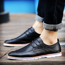 Popular fashion casual men shoes genuine leather soft comfortable shoes