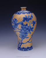 High value collection China famous master work Blue and White Porcelain gold plated vase