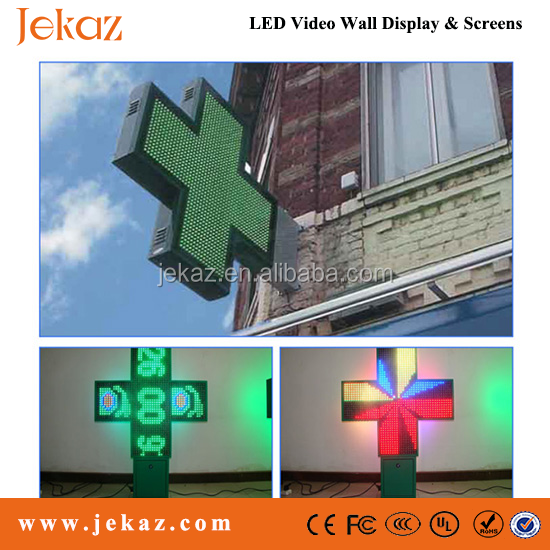 Jekaz P10/p16/p20/p25 R/RG/Full Color LED Pharmacy Cross Display Screens