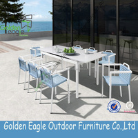 2016 New design outdoor furniture 8 chairs cane dining table chair set