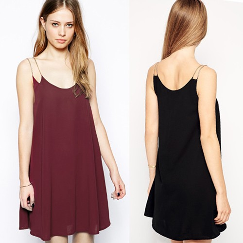 New Design Ladies Women's Fashion Sexy Chain Straps Chiffon Simple Dress SV024514