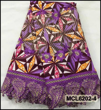 MCL6202-4 Nice African Embroidery Ankara Wax Printed With Guipure Lace Fabric For Festival