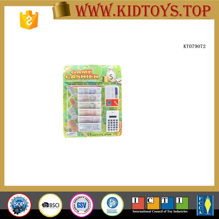 Children play house toys paper money and coins mini cash register play money games for sale