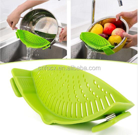kitchen Silicone Funnel Strainer / pan strainer / Pot Pan Bowl Baking Wash Rice Colander