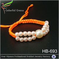 Adjustable knot braided bracelet designs color strings bracelet with drop pearl beads