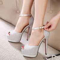 Fashion Black Suede Peep Toe Platform High Heel Ladies Shoes Made In China