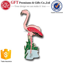 Custom 1.25 Inch Solid Brass With Gold Plating PINK FLAMINGO PIN