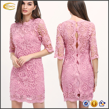 Ecoach new design lace evening dress elegant 3/4 Sleeve Purple button Down Backless women lace dresses