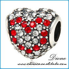flower heart shapes brass silver jewelry murano beads with crystal