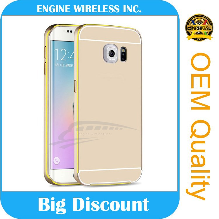shockproof pc cover and matel bumper combo case for samsung galaxy s6 back cover case