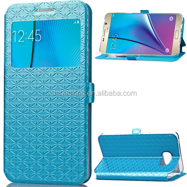 For Samsung Galaxy Note 5 Flip Leather Case with Holder & Card Slot & Call Display ID Window (Blue)