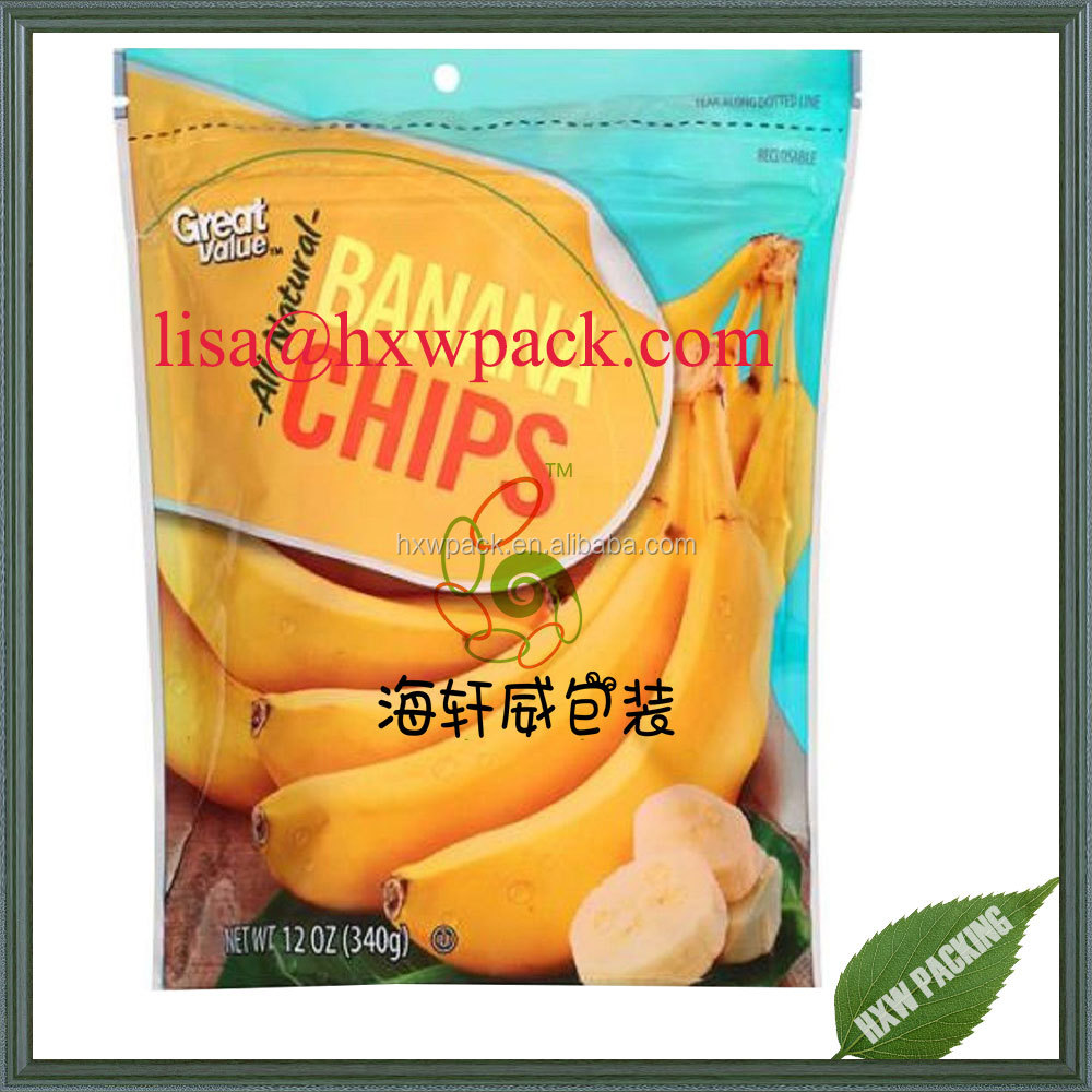 Custom printed snack food packaging bag /druit fruit chips bag/banana potato chips bag