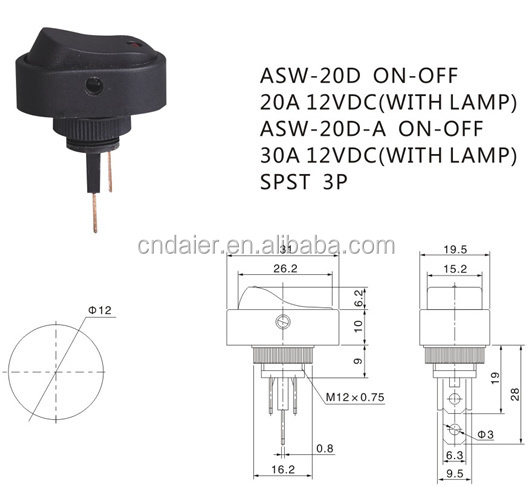 ASW-20D /20D-A ON-OFF Lighted LED Rocker Switch
