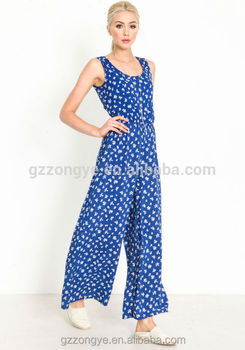 Chic Country Style Short Sleeve Printed Wide Leg Women Romper Newest Design For Women