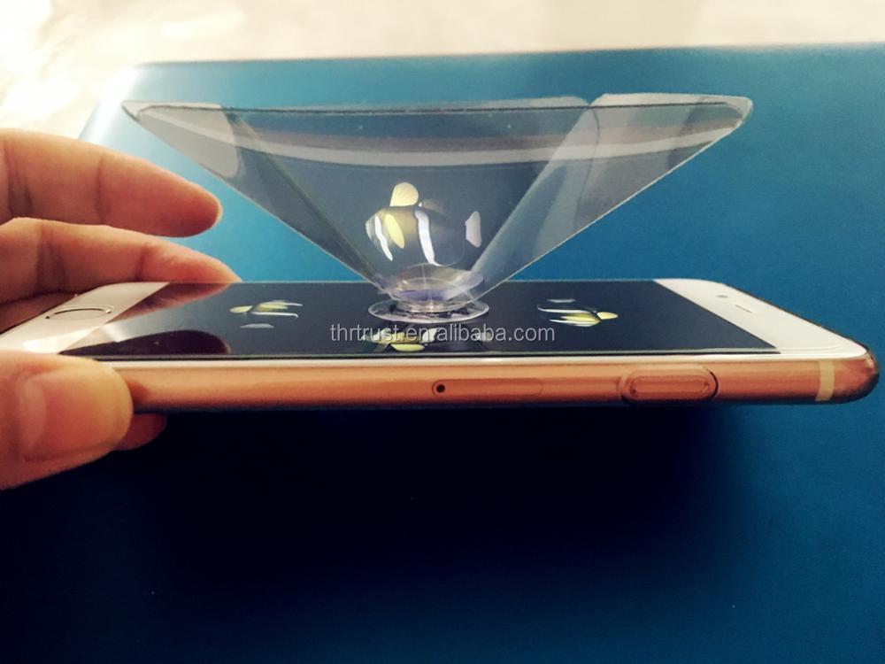 2017 new business Smartphone 3D holographic projector,Mini Pyramid Hologram for smartphone, 3D Hologram Display OEM logo