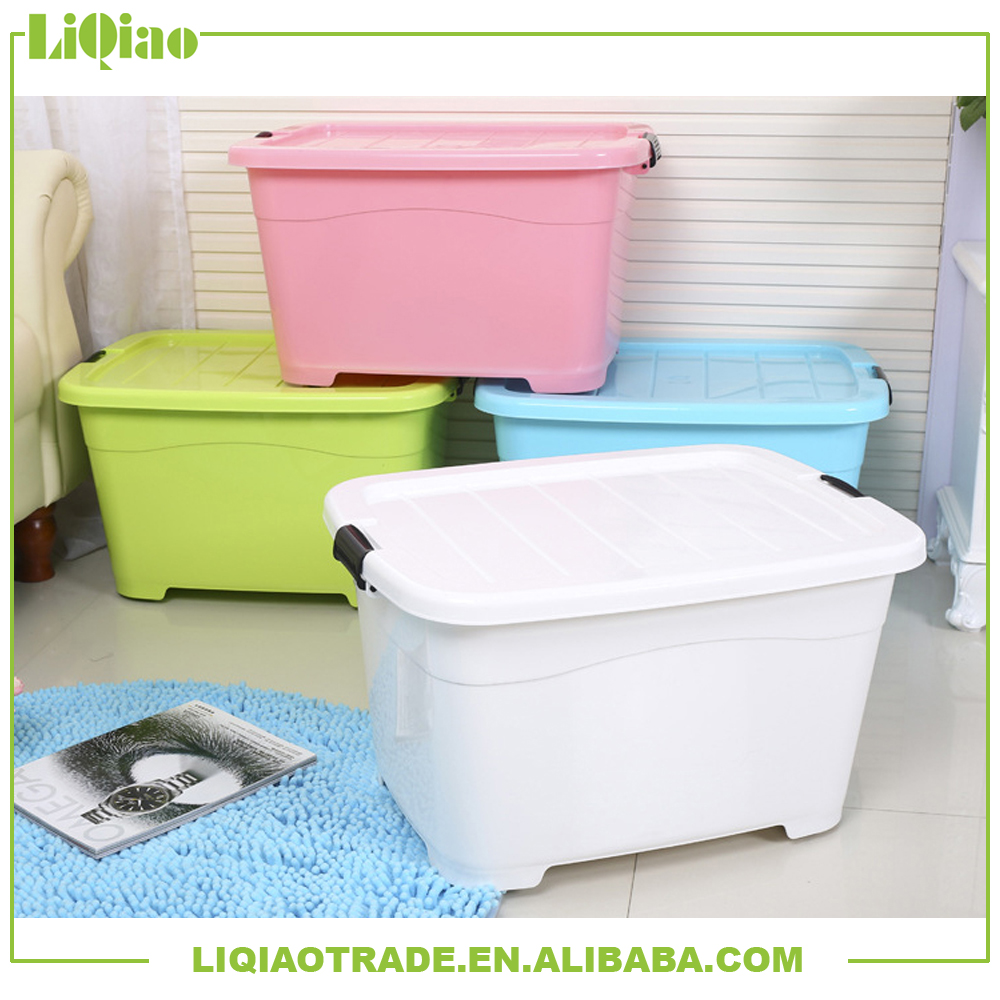 Delicate multi-color heavy-duty plastic storage box with wheels suitable for home