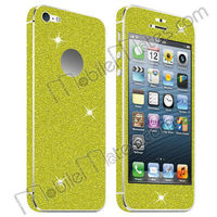 Shimmering Glitter Powder Back Skin Sticker + PET Screen Protector Guard for iPhone 5