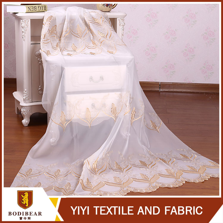 2016 Factory Price Newest gold embroidery turkish curtain fabric
