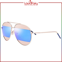 Laura Fairy Italy Creative Designer Fashion Golden Frame Double Color Metal Sunglasses