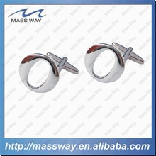 customized silver O letter shape fashion brass cufflink