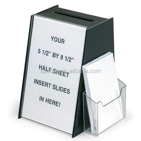 Acrylic Suggestion Box with 5.5 x 8.5 Sign Holder & Side Pocket for Storing Ballots