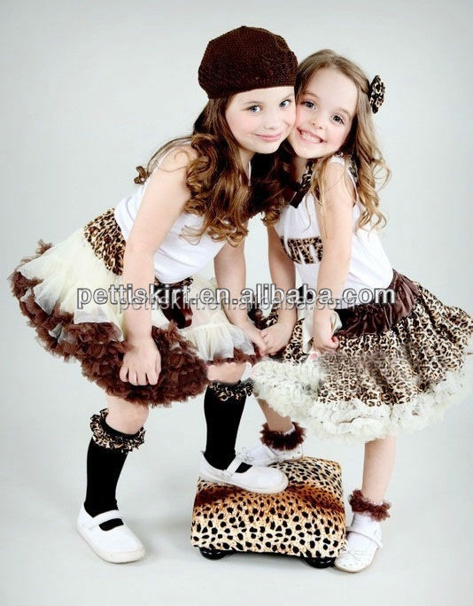Fashion Leopard petticoat satin tutus children ballet skirts
