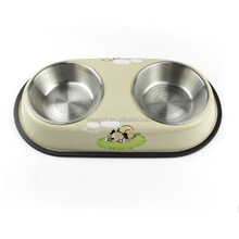 Quality assured hotsell bone pattern stainless steel feeder anti spill dog bowl