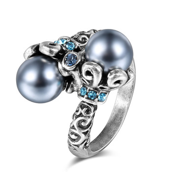RI00118 Yiwu WT Imitation pearl fashion silver jewelry, diamond-studded silver plated skull women's rings wholesale