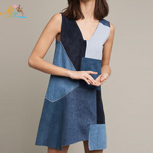 2017 New Arrival korean style summer lady dress stitching denim skirt