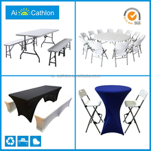 6ft folding in half foldable tables and chairs,promotional small suitcase plastic folding table and bench