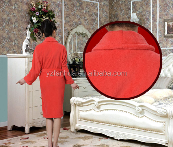 Wholesale fluffy orange women heated bathrobe