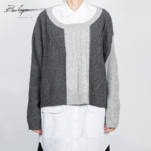 Kabel warna Campuran Cardigan Sweater Pullover