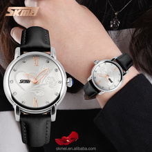Leather watch for girls silver zinc alloy case beatiful quartz hand watch