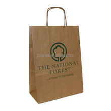 twisted handle brown kraft paper bag with logo print