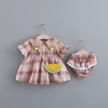 2019 Baby girl dress children frocks designs plaid ruffle cotton skirt with shorts fashion baby dress