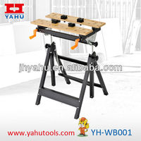 Height Adjustable Tilt and Rise watchmakers workbench for woodworking with bench vise