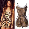 European ladies fashion sexy leopard jumpsuit shorts for women , custom chiffon sleeveless jumpsuit