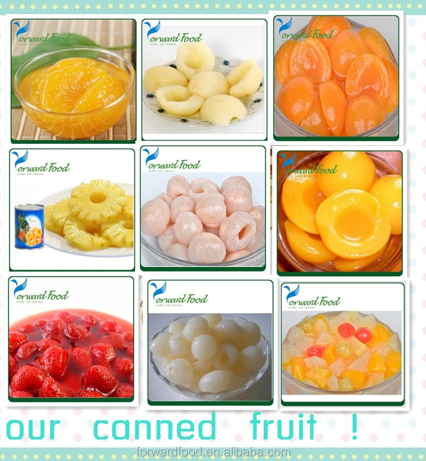 wholesale Canned fruit pineapple strawberry pear peach lychee all kinds of fruits
